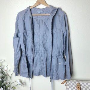 Kenar Grey Hooded Utility Linen Jacket